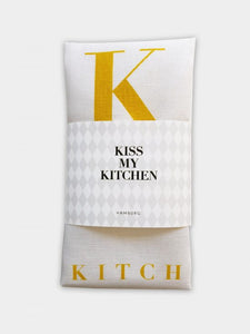 "-25% - kiss my kitchen ""Küchen-Handtuch"" white/yellow"