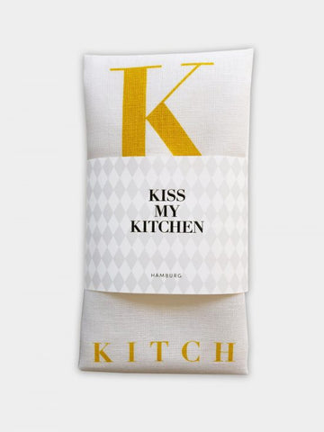 "-30% - kiss my kitchen ""Küchen-Handtuch"" white/yellow"