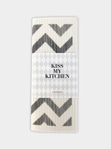 "kiss my kitchen Schwammtuch ""Zickzack white/black"""