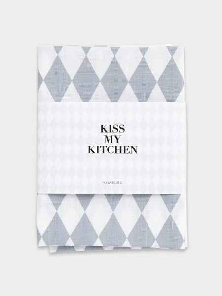 "kiss my kitchen Geschirrtuch ""Raute white/grey"""