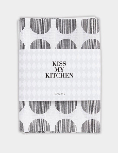 "kiss my kitchen Geschirrtuch ""Dots white/black"""