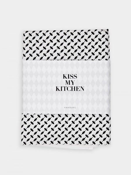 "kiss my kitchen Geschirrtuch ""Pali white/black"", mit Rand"