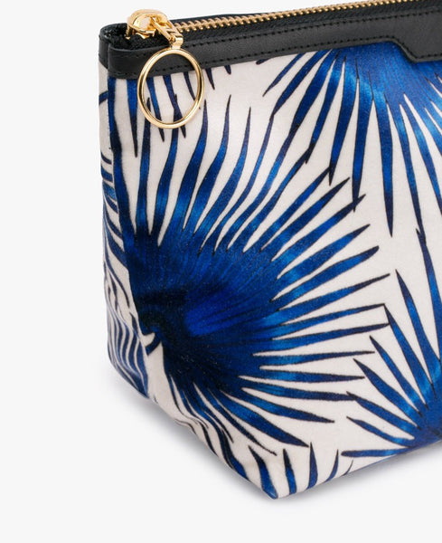 "EINZELSTÜCK!! WOUF ""BLUE PALMS"" BEAUTY BAG, Velvet / Samt"