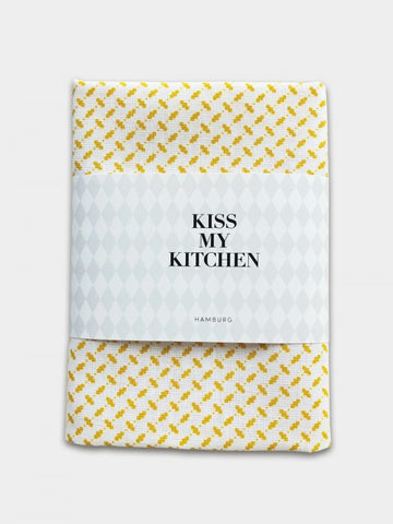 "kiss my kitchen Geschirrtuch ""Pali white/yellow"", mit Rand"
