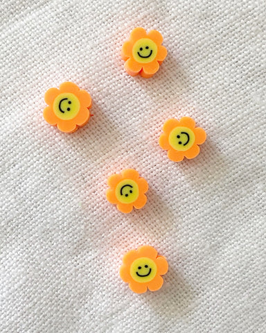 "LAST ONE!! Polymer ""Blümchen Smiley - Orange"" Perlen, 5 Stück"