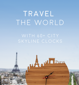 Paris Skyline Time Zone Clock - Cityscape Art Clock - Long Distance Relationship Gift