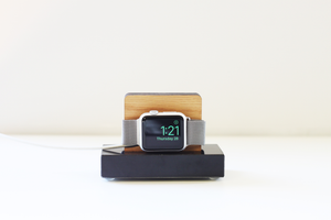 Apple Watch Stand - Black Marble and White Oak Wood Charging & Docking Station