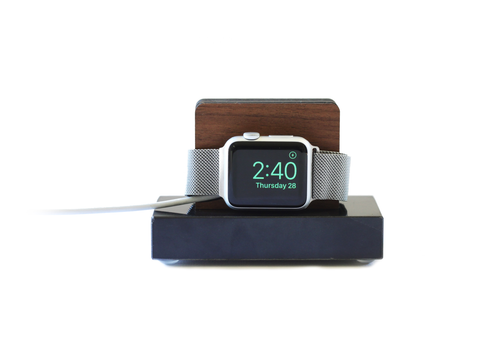 Apple Watch Stand - Black Marble and Walnut Wood Charging & Docking Station