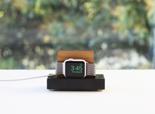 Load image into Gallery viewer, Apple Watch Stand - White Marble and Walnut Wood Charging & Docking Station