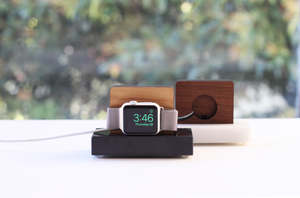 Apple Watch Stand - White Marble and White Oak Wood Charging & Docking Station