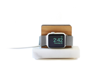 Load image into Gallery viewer, Apple Watch Stand - White Marble and White Oak Wood Charging & Docking Station