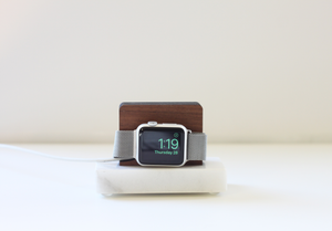 Apple Watch Stand - White Marble and Walnut Wood Charging & Docking Station