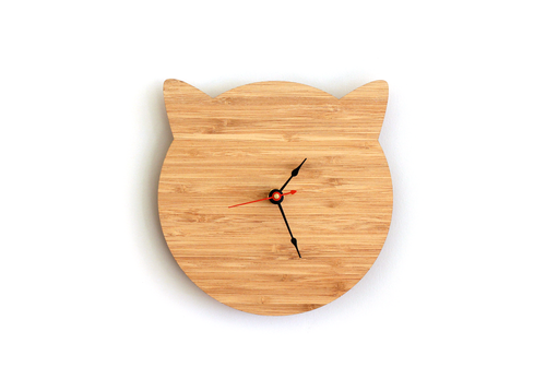 Cat Clock - Bamboo Modern Cat Ears Wall Clock