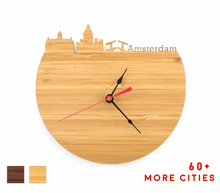 Load image into Gallery viewer, Amsterdam Skyline Time Zone Clock - Amsterdam Cityscape Art Clock - Long Distance Relationship Gift