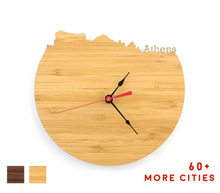 Load image into Gallery viewer, Athens Skyline Time Zone Clock - Athens Cityscape Art Clock - Long Distance Relationship Gift