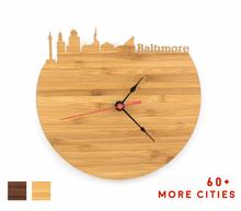 Load image into Gallery viewer, Baltimore Skyline Time Zone Clock - Baltimore Cityscape Art Clock - Long Distance Relationship Gift