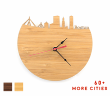 Load image into Gallery viewer, Boston Skyline Time Zone Clock - Cityscape Art Clock - Long Distance Relationship Gift