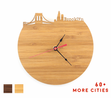 Load image into Gallery viewer, Brooklyn Skyline Time Zone Clock - Cityscape Art Clock - Long Distance Relationship Gift