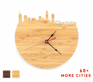 Charlotte Skyline Time Zone Clock - Cityscape Art Clock - Long Distance Relationship Gift