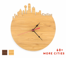 Load image into Gallery viewer, Dallas Skyline Time Zone Clock - Cityscape Art Clock - Long Distance Relationship Gift