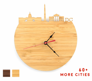 DC Skyline Time Zone Clock - Washington DC Cityscape Art Clock - Long Distance Relationship Gift
