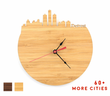 Load image into Gallery viewer, Detroit Skyline Time Zone Clock - Detroit Cityscape Art Clock - Long Distance Relationship Gift
