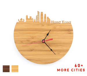 Hong Kong Skyline Time Zone Clock - Cityscape Art Clock - Long Distance Relationship Gift