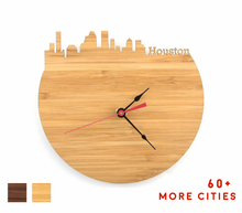 Load image into Gallery viewer, Houston Skyline Time Zone Clock - Houston Cityscape Art Clock - Long Distance Relationship Gift