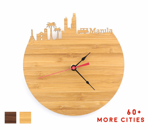 Manila Skyline Time Zone Clock - Cityscape Art Clock - Long Distance Relationship Gift