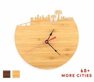 Miami Skyline Time Zone Clock - Cityscape Art Clock - Long Distance Relationship Gift