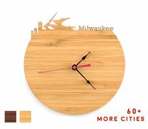 Milwaukee Skyline Time Zone Clock - Cityscape Art Clock - Long Distance Relationship Gift