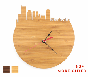 Nashville Skyline Time Zone Clock - Cityscape Art Clock - Long Distance Relationship Gift