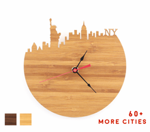 Load image into Gallery viewer, New York Skyline Time Zone Clock - NYC Cityscape Art Clock - Long Distance Relationship Gift