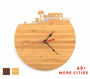 Orange County Skyline Time Zone Clock - Cityscape Art Clock - Long Distance Relationship Gift