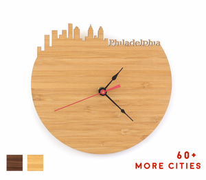 Philadelphia Skyline Time Zone Clock - Cityscape Art Clock - Long Distance Relationship Gift