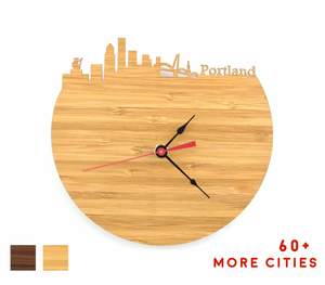 Portland Skyline Time Zone Clock - Cityscape Art Clock - Long Distance Relationship Gift