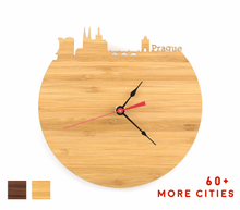 Load image into Gallery viewer, Prague Skyline Time Zone Clock - Cityscape Art Clock - Long Distance Relationship Gift