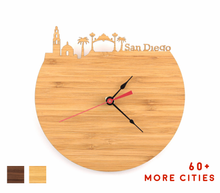 Load image into Gallery viewer, San Diego Skyline Time Zone Clock - California Cityscape Art Clock - Long Distance Relationship Gift