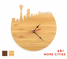 Load image into Gallery viewer, Seattle Skyline Time Zone Clock - Seattle Cityscape Art Clock - Long Distance Relationship Gift