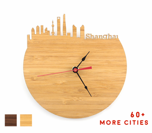 Shanghai Skyline Time Zone Clock - Cityscape Art Clock - Long Distance Relationship Gift