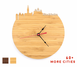 Stockholm Skyline Time Zone Clock - Cityscape Art Clock - Long Distance Relationship Gift