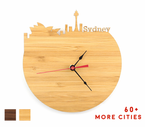 Sydney Skyline Time Zone Clock - Cityscape Art Clock - Long Distance Relationship Gift