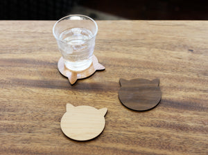 Cat Coasters - Modern Multicolored Wood Cat Ears Coasters Set