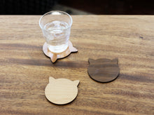 Load image into Gallery viewer, Cherry Cat Coasters - Modern Cherry Wood Cat Ears Coasters Set