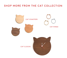 Load image into Gallery viewer, Cat Clock - Bamboo Modern Cat Ears Wall Clock