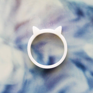 Kitty Cat Ring - Acrylic Black, Ivory, or Red Cat Ring
