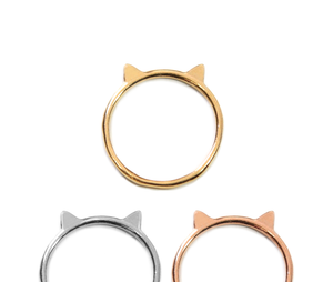 Cat Ring in Gold - Minimalist Dainty Cat Ears Ring - Great Cat Lover Gift