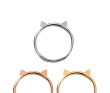 Load image into Gallery viewer, Cat Ring in Sterling Silver - Minimalist Dainty Cat Ears Ring - Great Cat Lover Gift