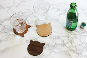 Cherry Cat Coasters - Modern Cherry Wood Cat Ears Coasters Set