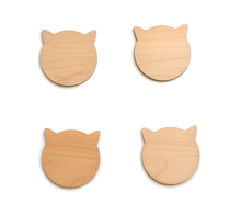 Load image into Gallery viewer, Walnut Cat Coasters - Modern Walnut Wood Cat Ears Coasters Set